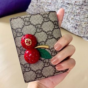 GG Supreme card case wallet with cherries